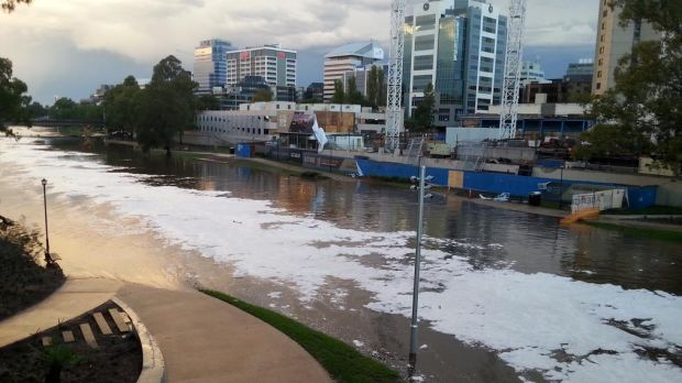 Ice floats across the Parramatta River on Saturday evening.