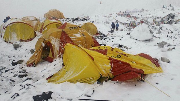 The scene after an avalanche triggered by a massive earthquake swept across Everest Base Camp, Nepal on Saturday.