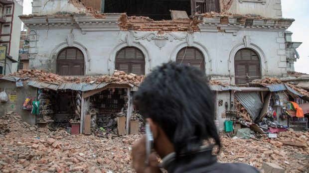 A collapsed building in Kathmandu following the earthquake.