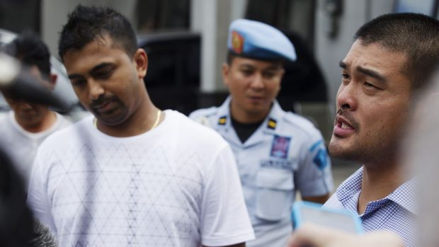 Michael Chan and Chinthu Sukumaran attend a press conference after talking to their brothers Andrew and Myuran who face ...