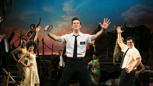 Rema Webb, Andrew Rannells and Josh Gad in the Broadway production of <i>The Book of Mormon</i>.