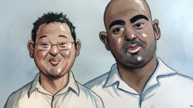 An artist's impression of Andrew Chan and Myuran Sukumara.