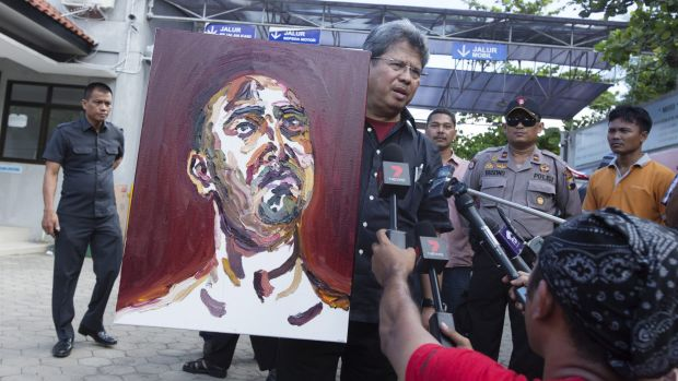A self portrait of Myuran Sukumaran is taken from Kerobokan Prison to Wijaya Pura in Cilacap.