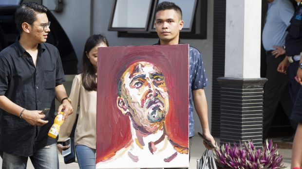A self portrait by Myuran Sukumaran is taken to Wijaya Pura in Cilacap. Sukumaran spent most of his last night painting.