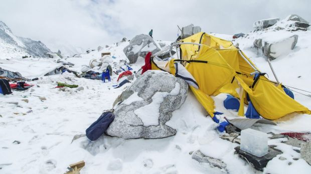 The Mount Everest south base camp in Nepal is seen a day after a huge avalanche, triggered by the earthquake, killed at ...