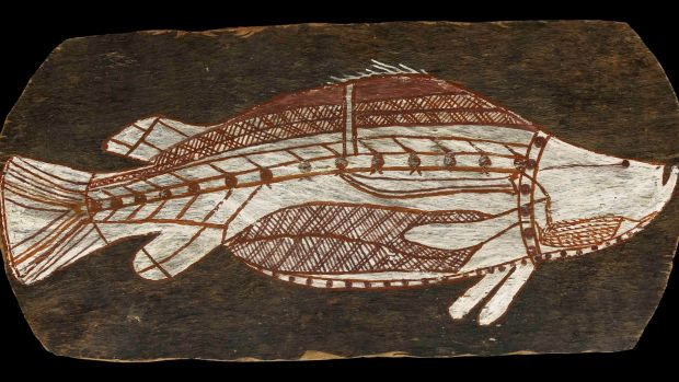 A bark painting of a barramundi from Arnhem Land, circa 1961, is one piece to be lent to the National Museum of ...