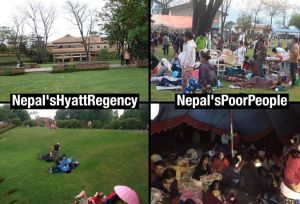 """Twitter post from @JigmeUgen: """"#SHAME: Open spaces in #Nepal limited & cramped but #HyattRegency still exclusive for ..."""