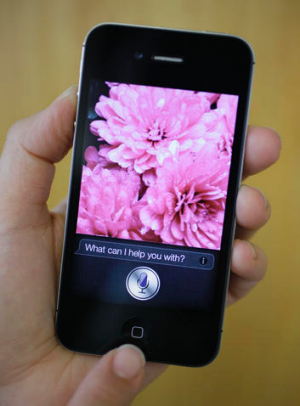Siri, the new virtual assistant, is displayed on the new Apple iPhone 4S.