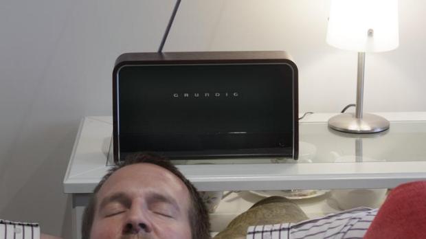 Jurgen Schaub and his vintage grundig GDR 700 DAB radio.