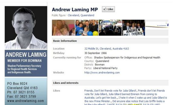 A screenshot of Andrew Laming's Facebook page this week with some of the groups he's a fan of.