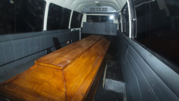 Coffins leave   Cilacap after the executions.