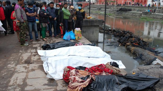 Victims of the Nepal earthquake lined up awaiting cremation.