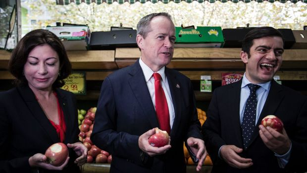 Senator Sam Dastyari, right, at a Rockdale supermarket with Labor leader Bill Shorten, centre, and MP Terri Butler.