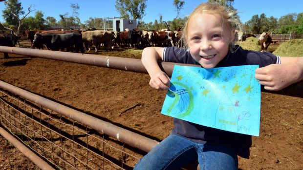 Bailey Brooks, 6, who drew the winning picture that will go on the side of the rocket that launches the NBN satellite.