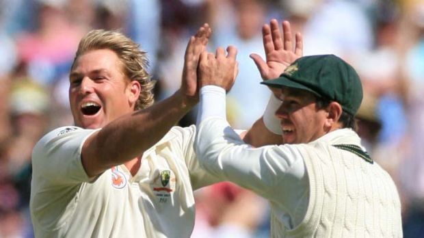 Shane Warne and Ricky Ponting celebrate a wicket in the Boxing Day Test in 2006.