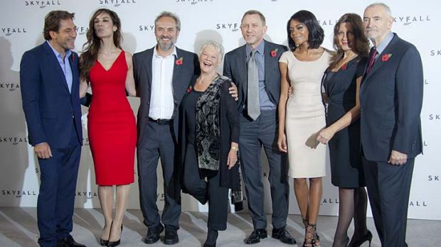 New film .... director Sam Mendes, third from left, with actors, from left, Javier Bardem, Berenice Marlohe, Dame Judi ...