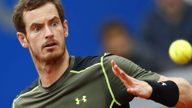 Riled: Andy Murray  during the quarter-final match against Lukas Rosol.