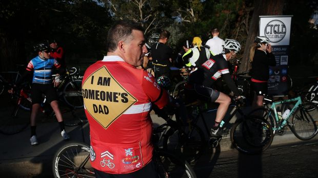 One of the bike riders who rode a 13km circuit around Kew Boulevard to protest against someone who had been laying tacks ...