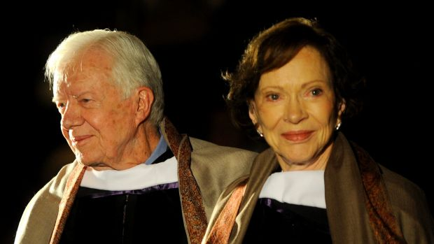 Former US president Jimmy Carter and his wife Rosalynn Carter at an award ceremony honouring their humanitarian work in 2009.
