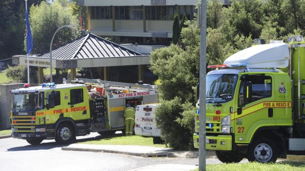 ACT Fire and Rescue attend an incident at the Indonesian embassy in Yarralumla.