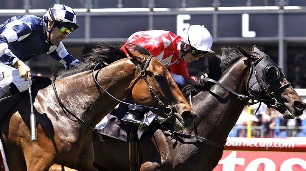 Kerrin McEvoy (red and white silks) rides He's Remarkable to victory in the Visit Victoria Handicap.