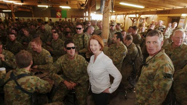 Prime Minister Julia Gillard meets with Australian Defence Force personnel for a BBQ lunch during her visit to the ...