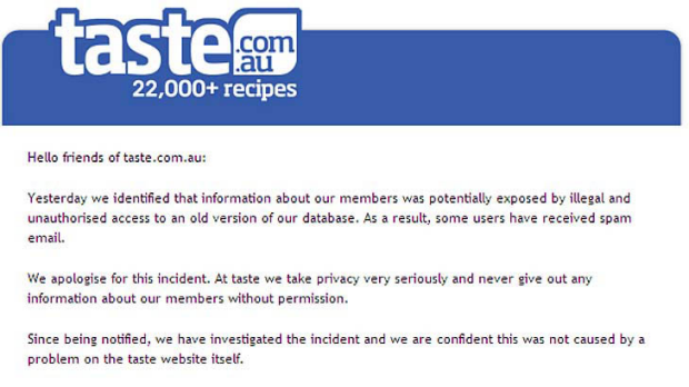 The email sent to Taste.com.au members on Friday.
