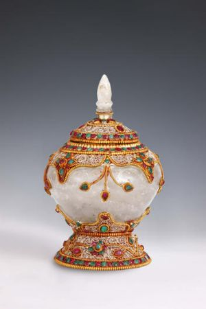 The Sarira Stupa, a jewel-encrusted portable temple for transporting the crystalised ashes of Budda.