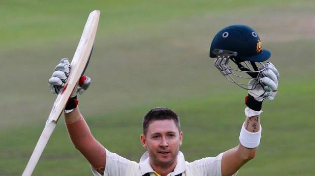 Australia's Michael Clarke celebrates his century during the first day of their first test match against South Africa in ...