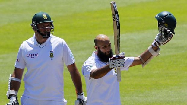 Hashim Amla (right) celebrates his century along with captain Graeme Smith.