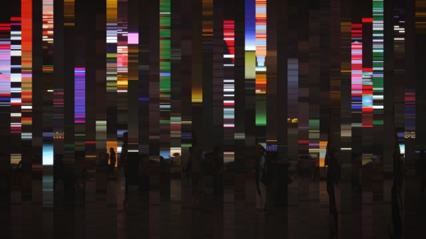 Art by Daniel Crooks titled, Static (phase shift) 2011 Utilising Single-channel High Definition digital video 16:9, ...