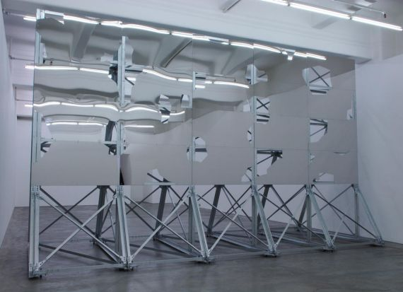 Art by Callum Morton titled Smokescreen, 2009 Galvanised and stainless steel 348 x 572 x 348 cm