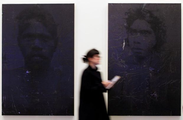 Exhibition at Ian Potter Centre : NGV Australia.  Art by Brook Andrew titled Gun-Metal Grey.  Left to right.  Galiyn ...