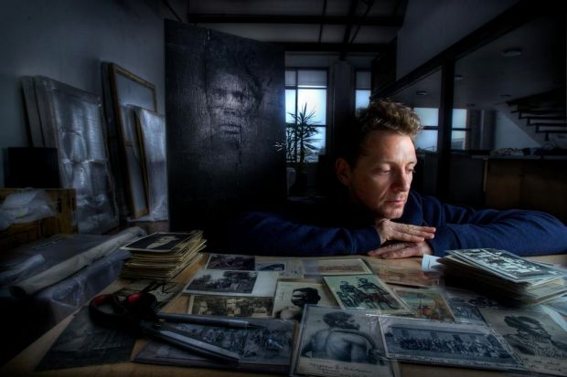 Artist BROOK ANDREW in his Footscray studio.