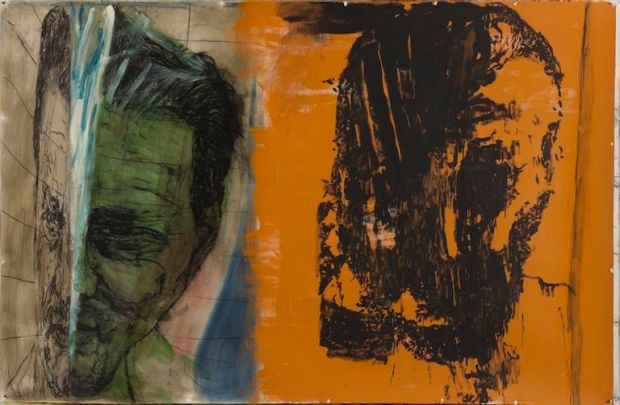 Mike Parr works titled - Non provisioning can save me, 2011 Acrylic, pastel, charcoal pencil, charcoal, ink mixed with ...