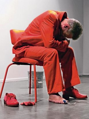 Performance artist Mike Parr