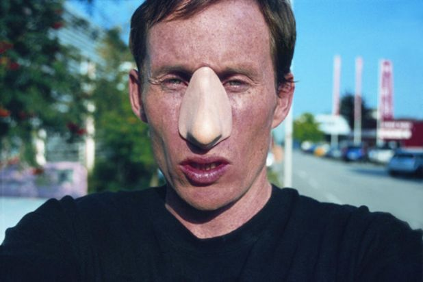 Artist Stuart Ringholt and his prosthetic nose attachment