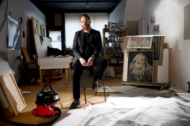 Australian artist David Noonan at home in his London Studio, Spitalfields EC1. London.