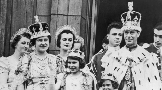 The royal family on the balcony at Buckingham Palace in 1937. The Queen Mother, formerly Elizabeth Bowes-Lyon, is second ...