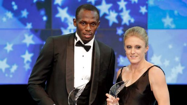 Usain Bolt and Sally Pearson at the 2011 World Athletes of the Year awards.