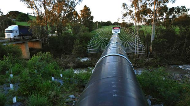 The north-south pipeline at Devlins bridge over the Yea river.