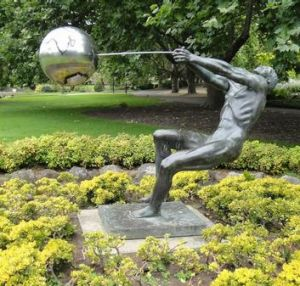 The Pathfinder bronze statue in the Queen Victoria Gardens, opposite the NGV in St Kilda Road, has a new hammer ...