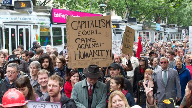 The Occupy Melbourne protest on Swanston St.<i>Photo: Craig Sillitoe</i>
