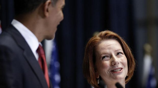 Strengthening ties: President Barack Obama and Prime Minister Julia Gillard hold a joint press conference at Parliament ...