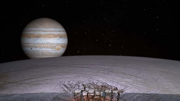 "An artist's impression of Europa's ""Great Lake"", courtesy of NASA."