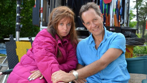 Gina Riley sports her unmistakeable Kim pout alongside British co-star Richard E. Grant on the set of <i>The Kath & Kim ...