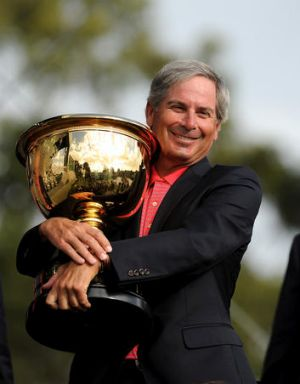 US captain Fred Couples with the Presidents Cup.