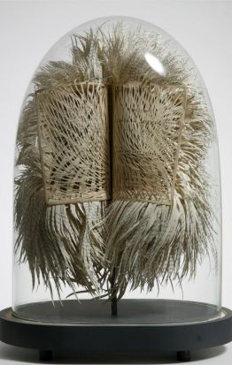 First and last things, cut and dissected book in bell jar, by Georgia Russell. England & Co(www.englandgallery.com).