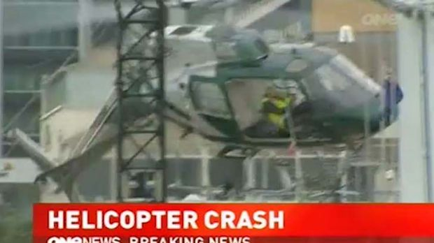 Dramatic crash ... the helicopter catches the wire.