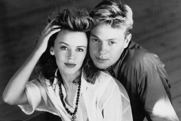 Kylie Minogue with Jason Donovan.
